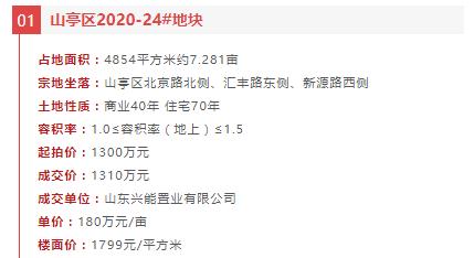 山亭区一宗地由山东兴能置业有限公司以1310万元竞得!